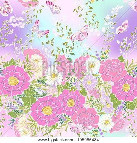 Floral seamless pattern with butterflies Stock vector illustration. In vanilla pastel colors