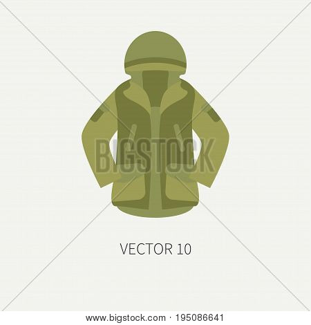 Line tile color vector hunt and camping icon khaki jacket. Hunter equipment, armament. Retro cartoon style. Wildlife travel. Camouflage. Forest. Item. Illustration and element for design, wallpaper.