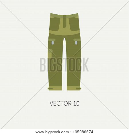 Line tile color vector hunt and camping icon - khaki pants. Hunter equipment, armament. Retro cartoon style. Wildlife travel. Camouflage. Forest. Illustration and element for your design, wallpaper.