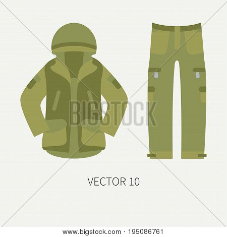Line tile color vector hunt and camping icon khaki jacket, pants set. Hunter equipment. Retro cartoon style. Wildlife travel. Camouflage. Forest. Illustration and element for your design, wallpaper.