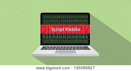 script kiddie concept illustration with laptop comuputer and text banner on screen with flat style and long shadow vector