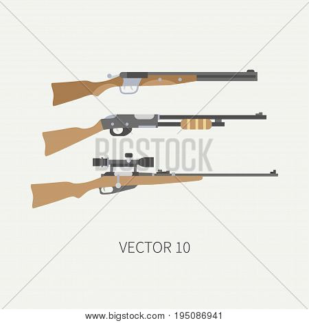 Line tile color vector hunt and camping icon shotgun, rifle. Hunter equipment, armament. Retro cartoon style. Wildlife travel. Camouflage. Forest. Illustration and element for your design, wallpaper