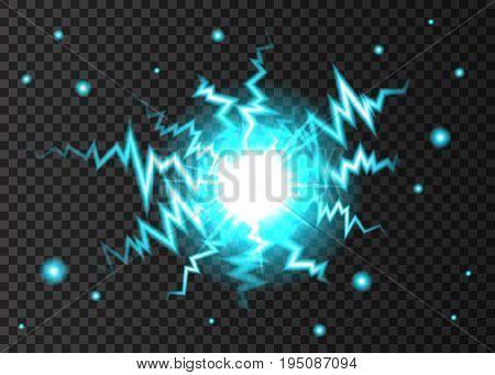 Ball Lightning Or Electricity Blast On Transparent Background.