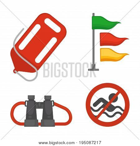 Vector illustration of savior items and no swimming sign isolated on white.