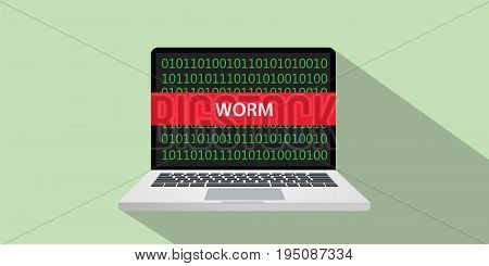 worm hacking technique concept illustration with laptop comuputer and text banner on screen with flat style and long shadow vector