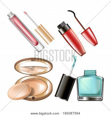 Makeup cosmetics of mascara eyeliner, nail polish bottle, tone powder box with mirror and lipstick. Vector isolated 3D realistic icons of woman fashion make-up cosmetic or luxury beauty salon