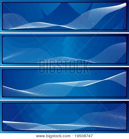 Abstract banner. Set. The blue background with color transitions and white lines.
