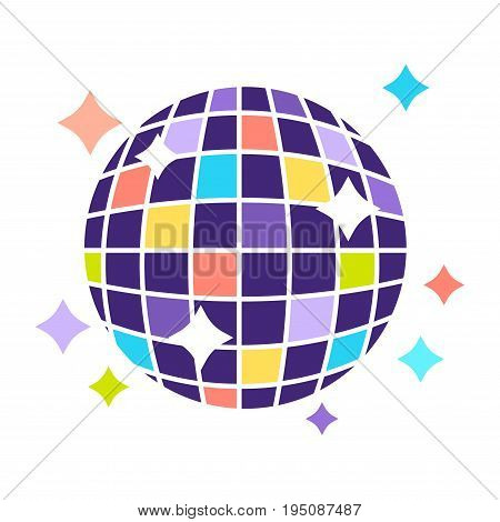 Disco ball icon for night club or party. Vector flat icon of discoball with sparkling shiny neon light reflection