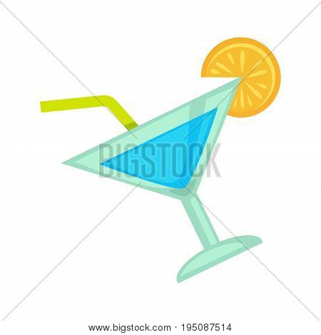Cocktail drink in glass with drinking straw for night club or disco party. Vector flat icon of fruit juice with lemon or orange slice. Alcohol beverage for glamor lounge bar