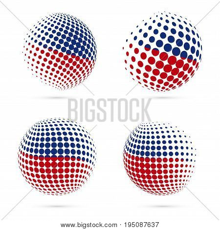 Haiti Halftone Flag Set Patriotic Vector Design. 3D Halftone Sphere In Haiti National Flag Colors Is
