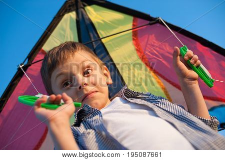 Surprised boy holding colorful kite on his shoulders
