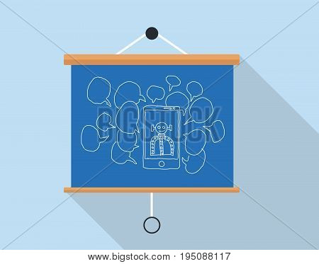 chatbot or robot chat concept illustration with presentation board vector