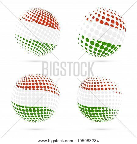 Hungary Halftone Flag Set Patriotic Vector Design. 3D Halftone Sphere In Hungary National Flag Color