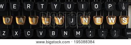 Typewriter with gold buttons in a row, assembling daily news words
