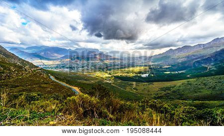 Franschhoek Valley in the Western Cape of South Africa with its many vineyards as seen from Franschhoek Pass in the Middagskransberg between the Franschhoek Valley and the Wemmershoek Mountains