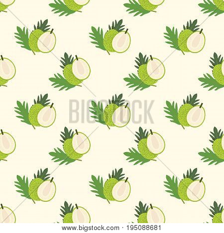 Seamless Background Image Colorful Tropical Fruit Breadfruit