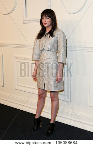 NEW YORK-MAR 31: Actress Dakota Johnson attends the CHANEL Paris-Salzburg 2014/15 Metiers d'Art Show and Party at the Park Avenue Armory on March 31, 2015 in New York City.