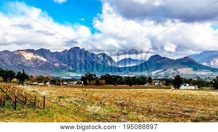 Franschhoek Valley in the Western Cape of South Africa with its many vineyards and Middagskransberg and the Wemmershoek Mountains in the background