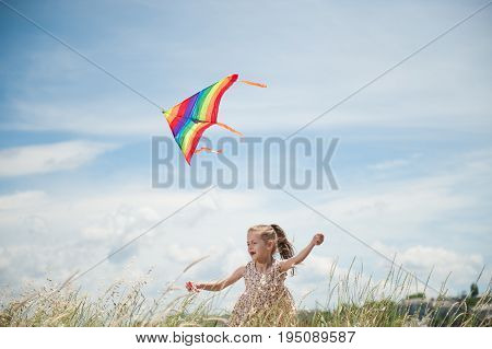cheerful little girl with long hair holding flying colorful kite in the field on summer sunny day