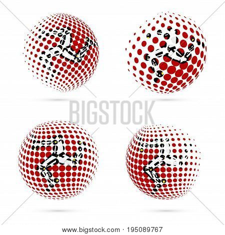 Isle Of Man Halftone Flag Set Patriotic Vector Design. 3D Halftone Sphere In Isle Of Man National Fl