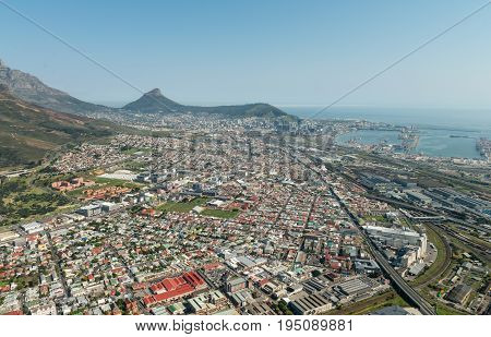Cape Town (South Africa) aerial view (shot from a helicopter)