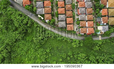 aerial view of home village in good environmental