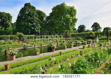 LONDON, ENGLAND - May 27,2017: view of the beautiful Sunken Garden before Kensington Palace in London