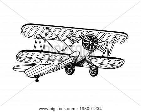 Old airplane biplane vector illustration. Scratch board style imitation. Hand drawn image.