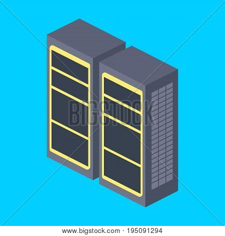 Server rack isometric style colorful vector illustration