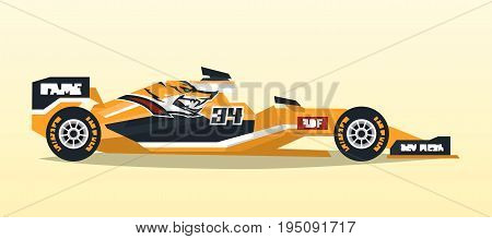 A racing bolid. Sport car. Quick transport. Powerful engine. Aerodynamic body. Logo foxes. Tape off stickers of sponsors, inscriptions. Side view, isolated on background.