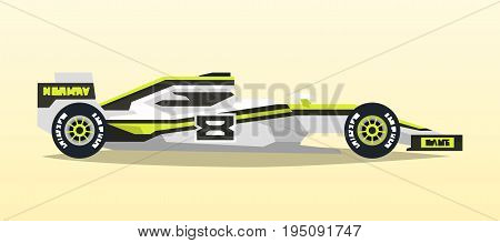 A racing bolid. Sport car. Quick transport. Powerful engine. Aerodynamic body. Side view, isolated on background