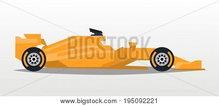 Orange racing bolid. Sports car. Quick transport. Powerful engine. Aerodynamic body. Side view, isolated on background. Vector illustration
