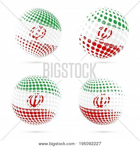 Iran Halftone Flag Set Patriotic Vector Design. 3D Halftone Sphere In Iran National Flag Colors Isol