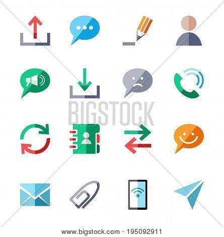 The message, icons, color, vector. Methods of communication and transmission of information. Colored vector icons with shadow on white background.