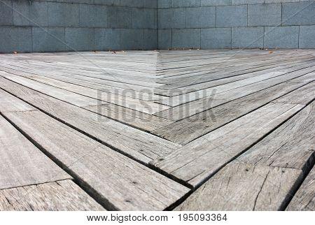 Wooden strip of terrece Walkway, Abstract background