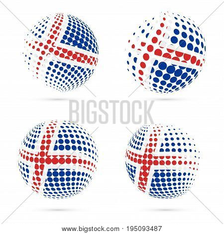 Iceland Halftone Flag Set Patriotic Vector Design. 3D Halftone Sphere In Iceland National Flag Color