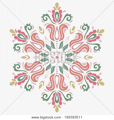 Oriental round colorful pattern with arabesques and floral elements. Traditional classic ornament. Vintage pattern with arabesques