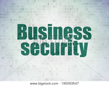 Protection concept: Painted green word Business Security on Digital Data Paper background