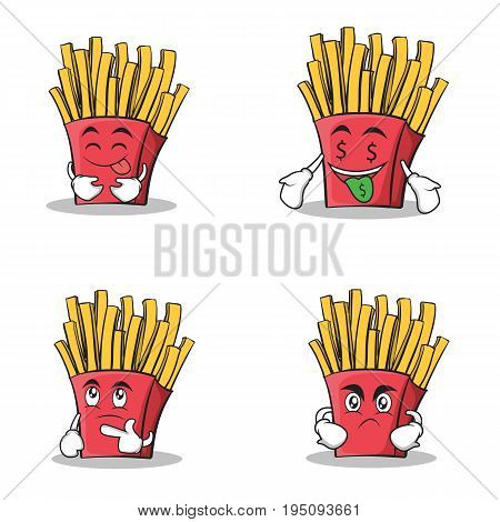 Collection stock french fries cartoon character set vector