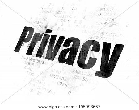 Protection concept: Pixelated black text Privacy on Digital background