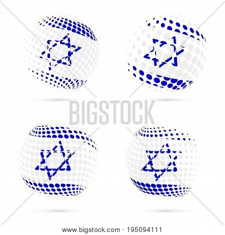 Israel Halftone Flag Set Patriotic Vector Design. 3D Halftone Sphere In Israel National Flag Colors