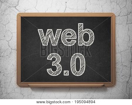 Web development concept: text Web 3.0 on Black chalkboard on grunge wall background, 3D rendering