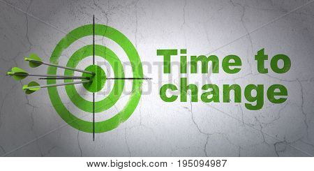 Success time concept: arrows hitting the center of target, Green Time to Change on wall background, 3D rendering