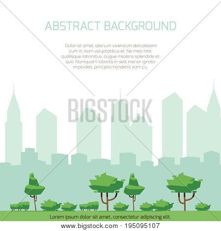 Eco city concept background - modern city silhouette and flat park design. City eco park flat illustration vector