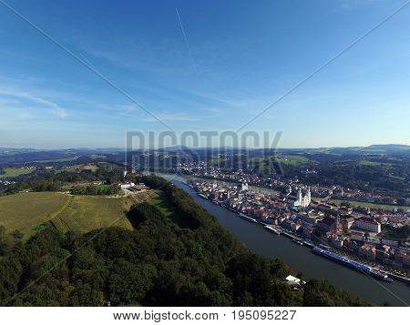 Aerial view over the city Passau in Bavaria. The Photo was taken with a Drone