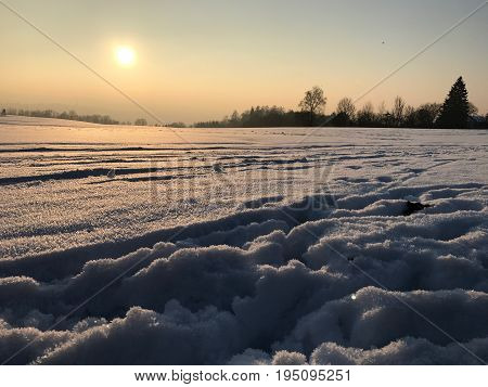 Winter Landscape  in Bavaria, near the Town of Passau. Sunset in Winter