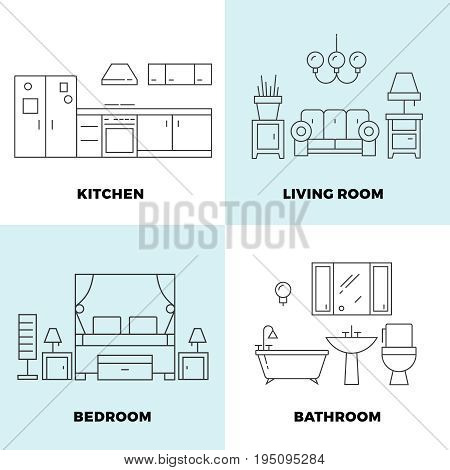 Thin line rooms concepts - apartment concept design. Furniture for home rooms. Vector illustration