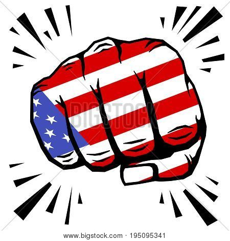 Hand drawn fist - american flag fist on white background. Vector illustration