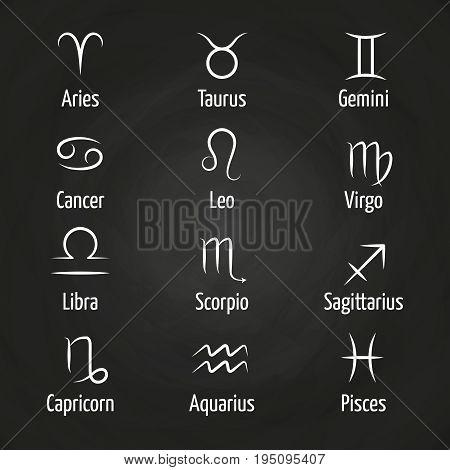 White Zodiac signs on blackboard vector illustration