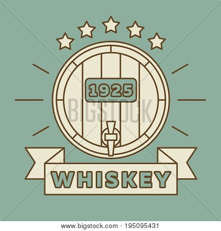 Whiskey logo design - vintage whisky barrel. Alcohol vintage banner whiskey. Vector illustration